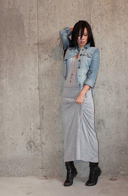 Anh M , Forever 21 Maxi Dress, Aldo Combat Boots, Gap Denim