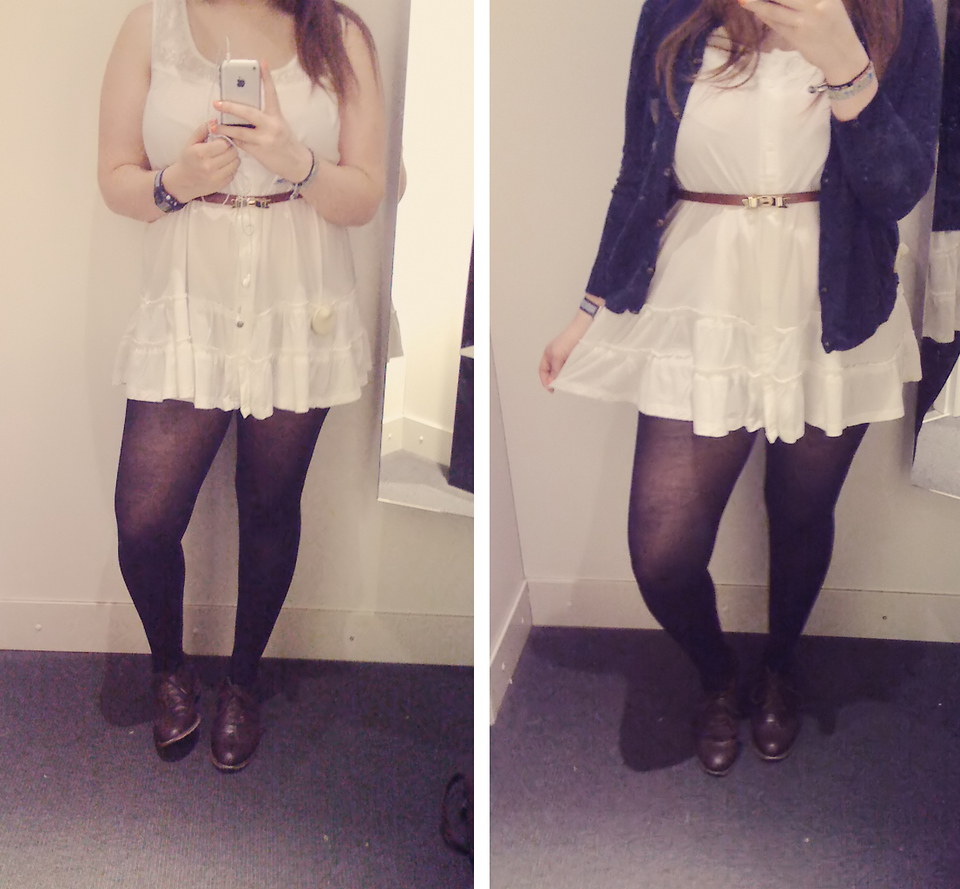 Larissa B. , H\u0026M White Dress, Black Tights, Primark Bow Belt