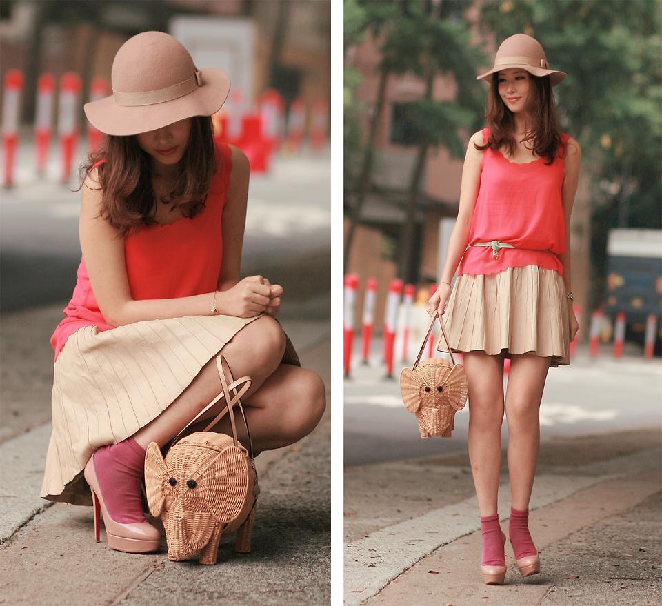 Mayo Wo - Monki Nude Hat, Fluo Orange Scalloped Vest, H&M