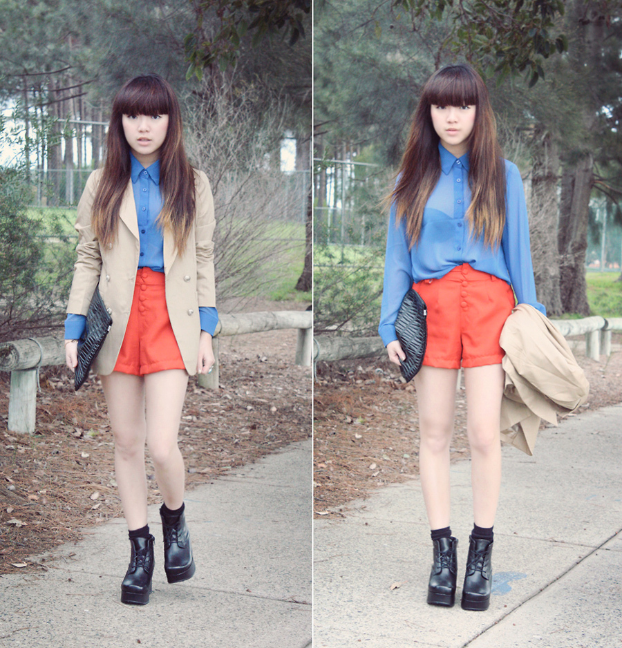 Willabelle Ong - Red High Waisted Shorts, Sheer Blue