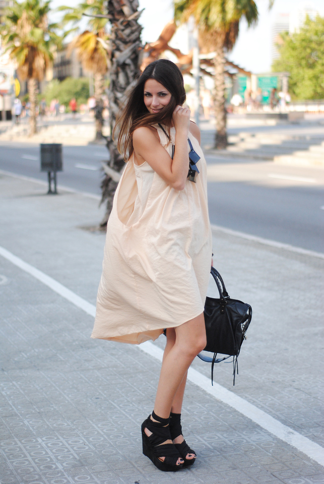Zina CH - The Wardrobe Dress, Topshop Shoes - Nude Dress