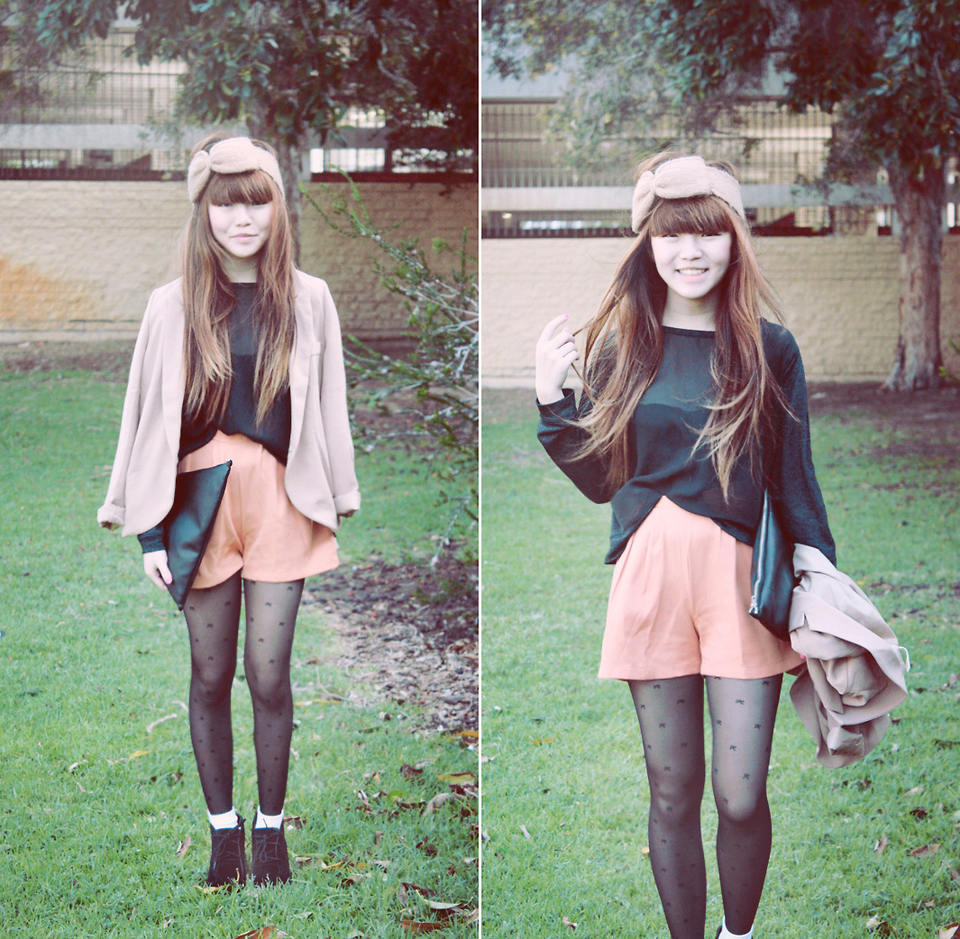 Willabelle Ong - Orange Shorts, Sheer Chiffon Top