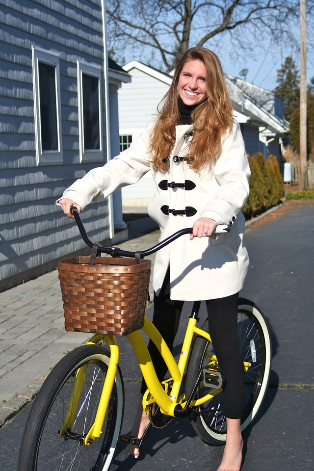 Ally Marie White Toggle Coat I Can Ride My Bike With No