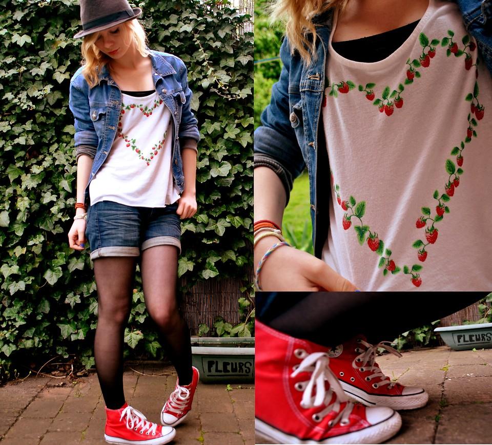 Marie Bezille - Converse Rouge, H&M T Shirt Fraise, H&M Veste En ...