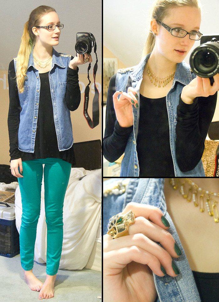 Jamie K Thrifted Diy Vest Forever 21 Lace Back Shirt Teal Pants Diy Safety Pin Necklace Diy Pearl Necklace H M Tiger Ring Diy Everywhere Lookbook