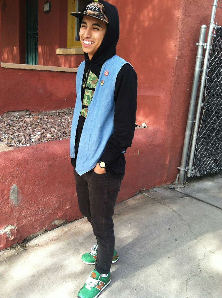 Francisco Rosales - Johnny Cupcakes Camo Hoodie, New Balance 574 ...
