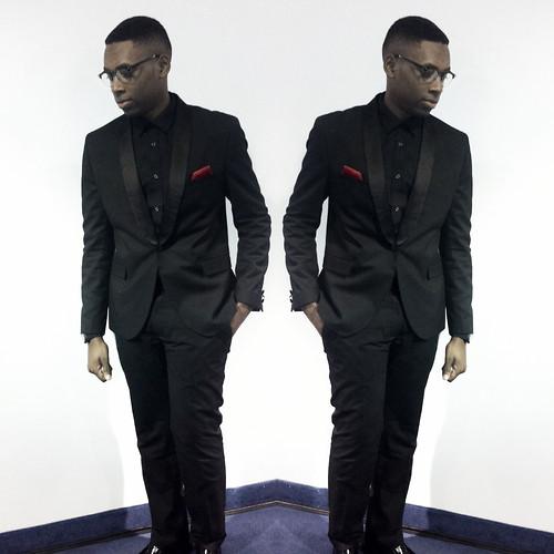 Brandon Maurice , H\u0026M Black Shirt, H\u0026M Blazer, Red Pocket