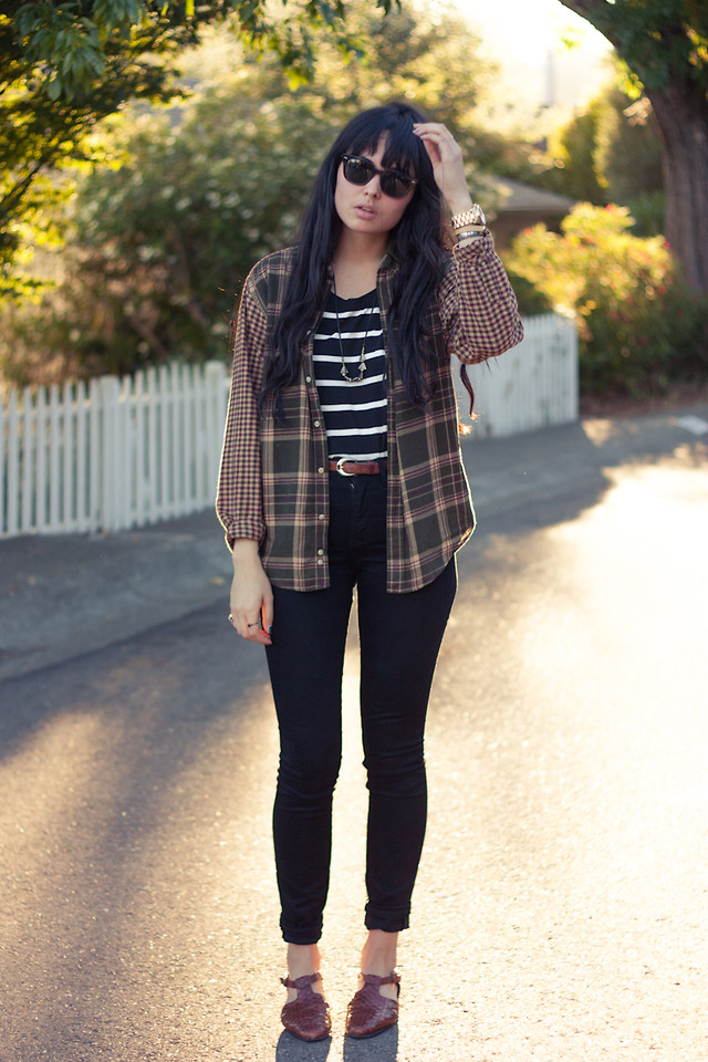 striped t shirt with flannel