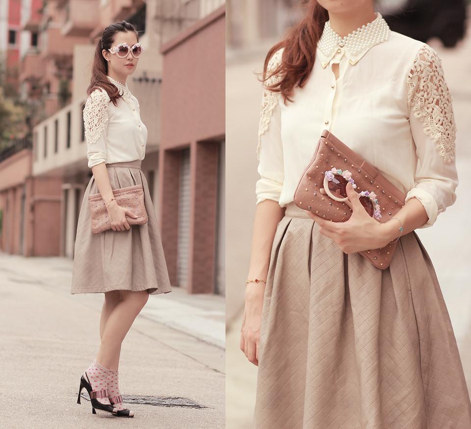 Mayo Wo - Yesstyle Lace Panel Shirt, Romwe Embossed Skirt