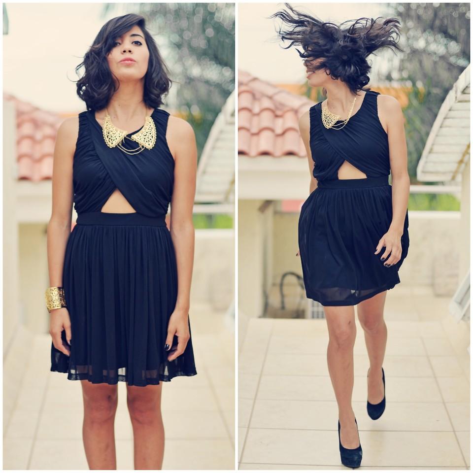 Gabirul C Bcbg Gold Bracelet Little Black Dress And Short Hair Lookbook