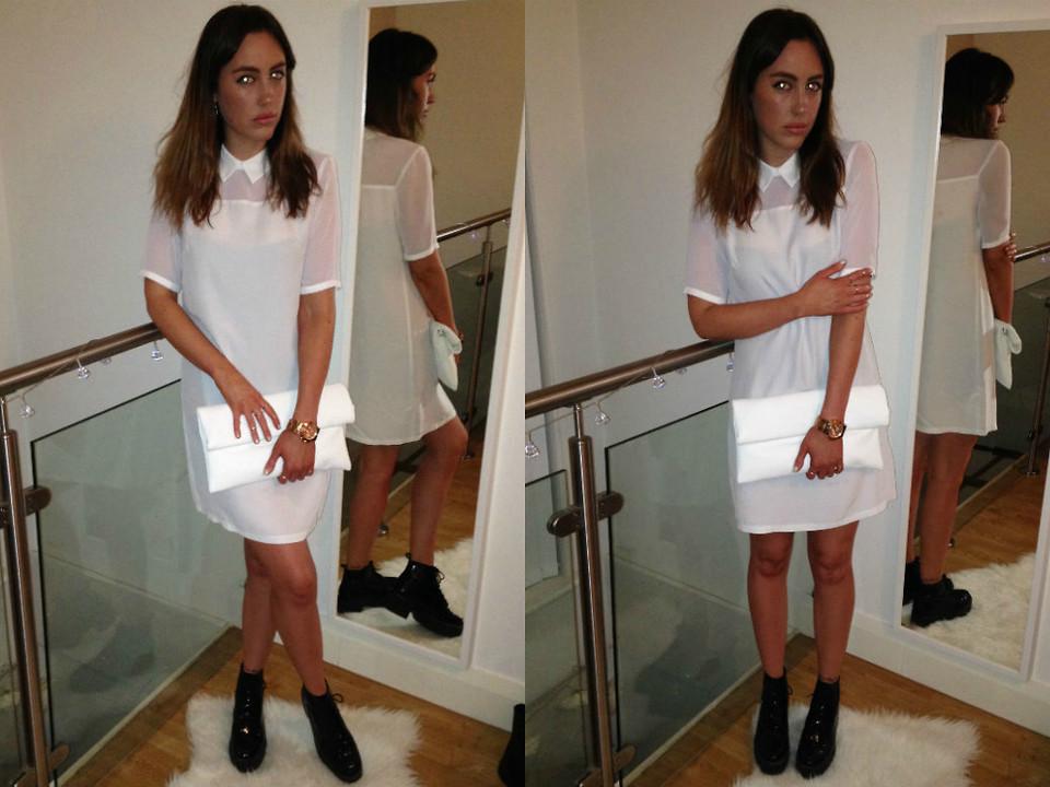 Monique Agar Primark White Dress Internacionale White Clutch Michael Kors Rose Gold Watch Topshop Black Boots White Gold Lookbook