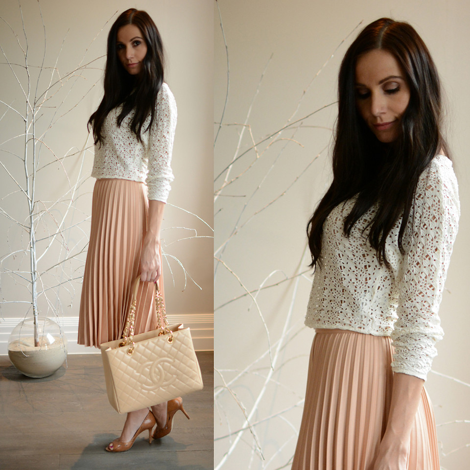 Zara Brown Accordion Pleat Skirt Size M L