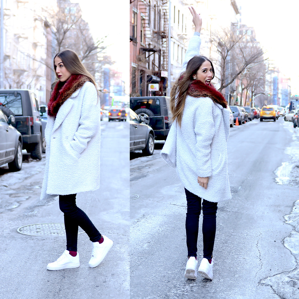 Alison Liaudat , Sisley White Wool Coat, Nike Air Force 1