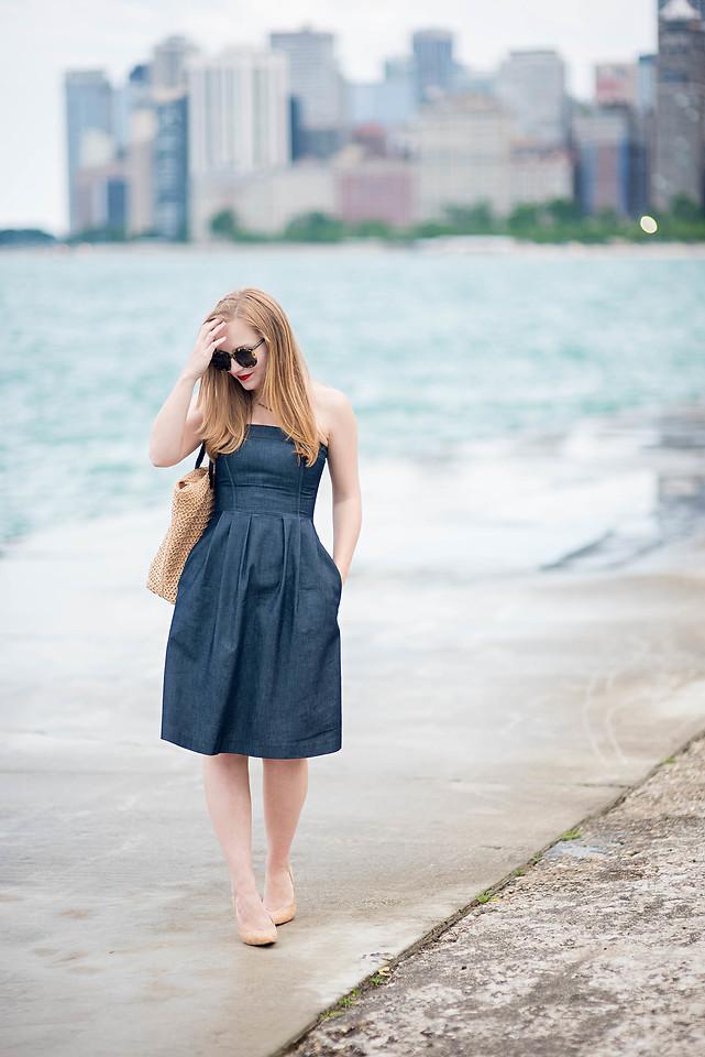 Zara Strapless Denim Dress