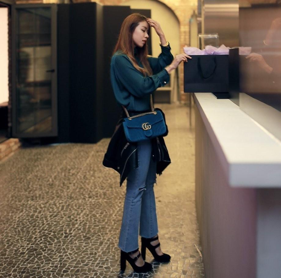 Rekay Style , Zara Satin Blouse, Gucci Marmont Bag, Mistype