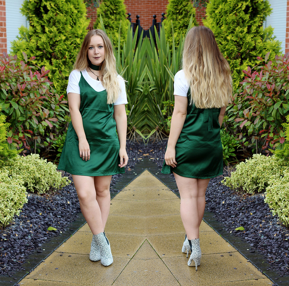 green and white t shirt dress
