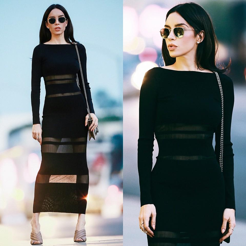 Claudia Salinas - Zara Neck Scarf, Gucci Webby Mules