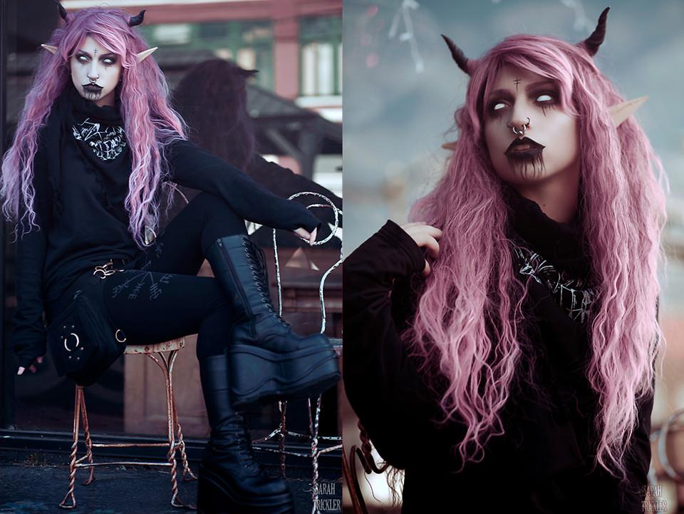 Demonia Wig Black White Long Gothic Hair Ladies Girls Halloween Party Wig