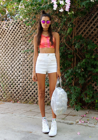 white converse shorts