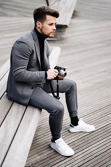 Kevin Elezaj , Adidas Sneakers, Digel Suit, H\u0026M Turtleneck