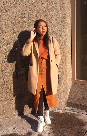 Hagar M , Topshop Relaxed Coat, Forever21 Brushed Sweater