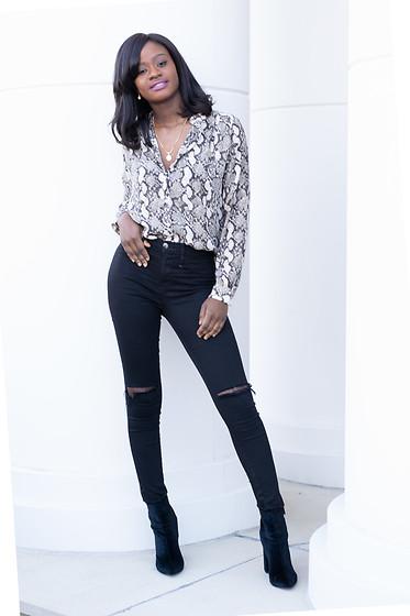 Iféoluwa Anani , H\u0026M Leopard Print Top, Fashion Nova Black