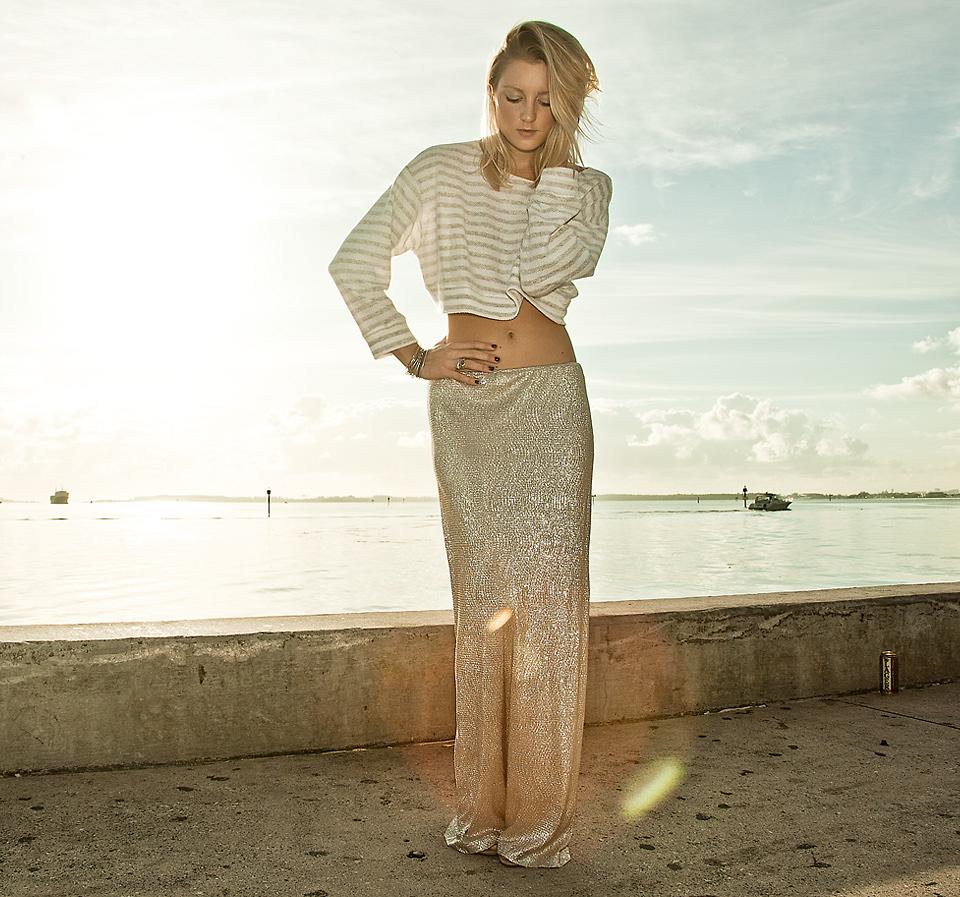 Alexis Silver amanda del duca - alexis silver maxi skirt - silver lining