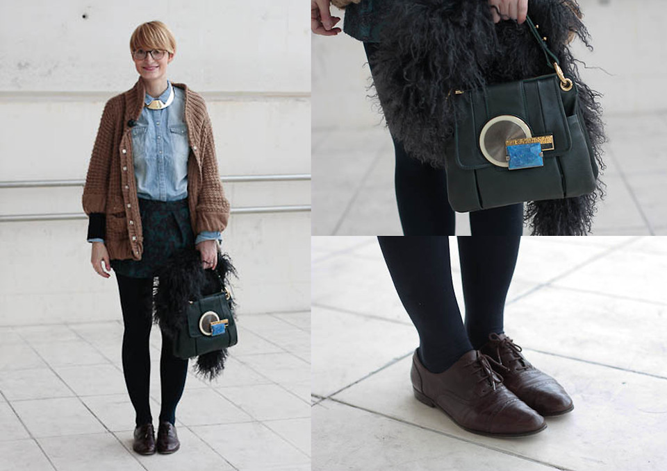 Isabel B Marc By Jacobs Leather Bag With Metallic Brooch Massimo Dutti Brown Leather Brogues Manoush Long Beige Knitted Cardigan H M Golden Necklace Hakei Brocade Miniskirt Comptoir Des Cotonniers Gray Fur