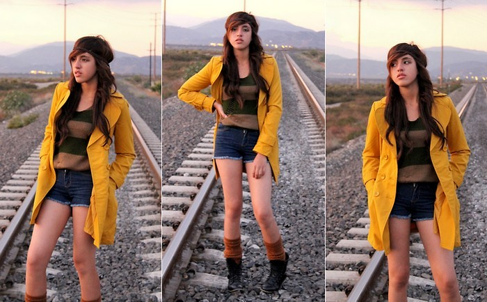 Valerie G Forever 21 Coraline Yellow Coat H M Brown Green Stripes Sweater Forever 21 Blue Denim Shorts American Apparel Leg Warmers Sears Combat Boots Anywhere Lookbook