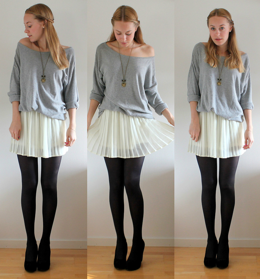 Sofie Norman Bik Bok Pleated Skirt, H&M Grey Sweater