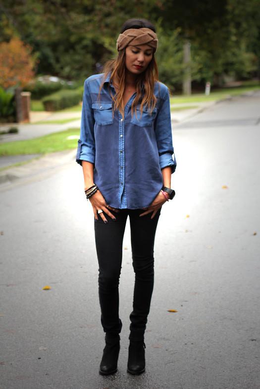 Lisa O - Sportsgirl Shirt, Asos Jeans, Swatch Watch, Tony Bianco Boots -  Denim Blues   LOOKBOOK