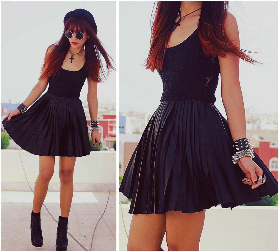 skater dress with booties