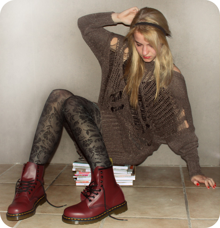Frederike S. Dr. Martens Boots, H&M Flower Print Tights