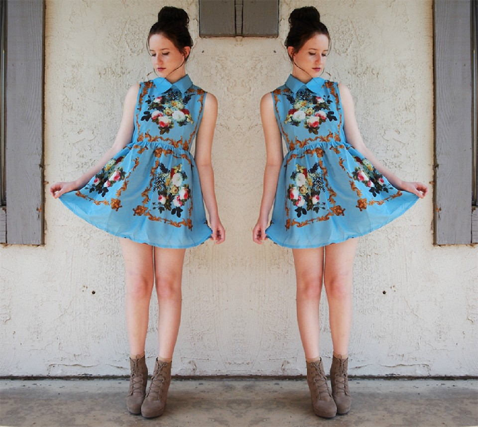 vintage dress with boots