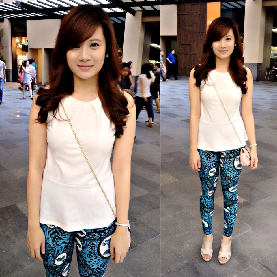 Jannelle O Cotton On White Peplum Top Apartment 8 Blue Printed Leggings Print Is In Lookbook