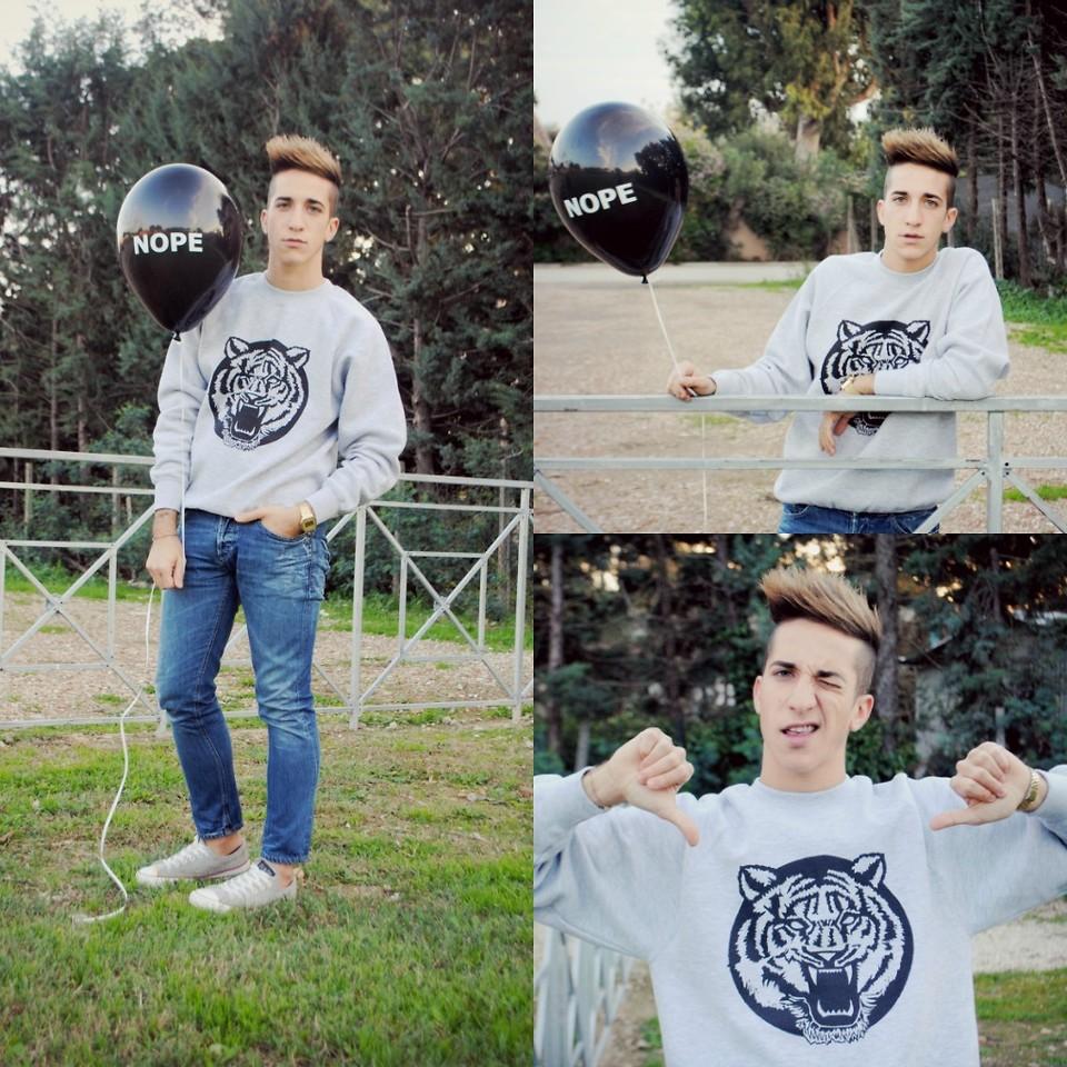 Matteo Branchetti Micucci No Perfect Sweatshirt Dondup Skinny Jeans Converse Sneakers Tiger Man Lookbook