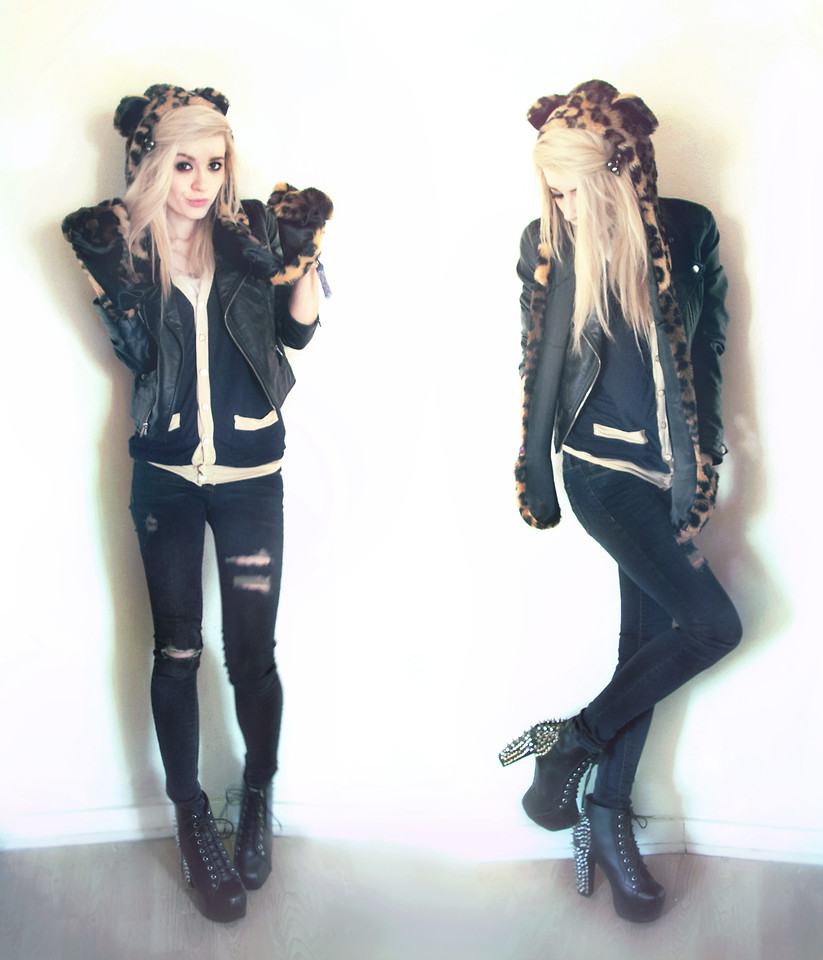 blouse leather jacket leather pants timberlands cheetah