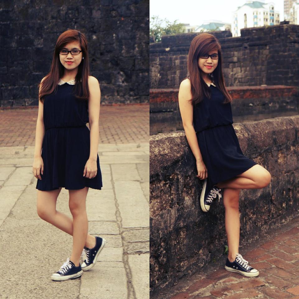 Forever 21 Black Dress, Converse Black