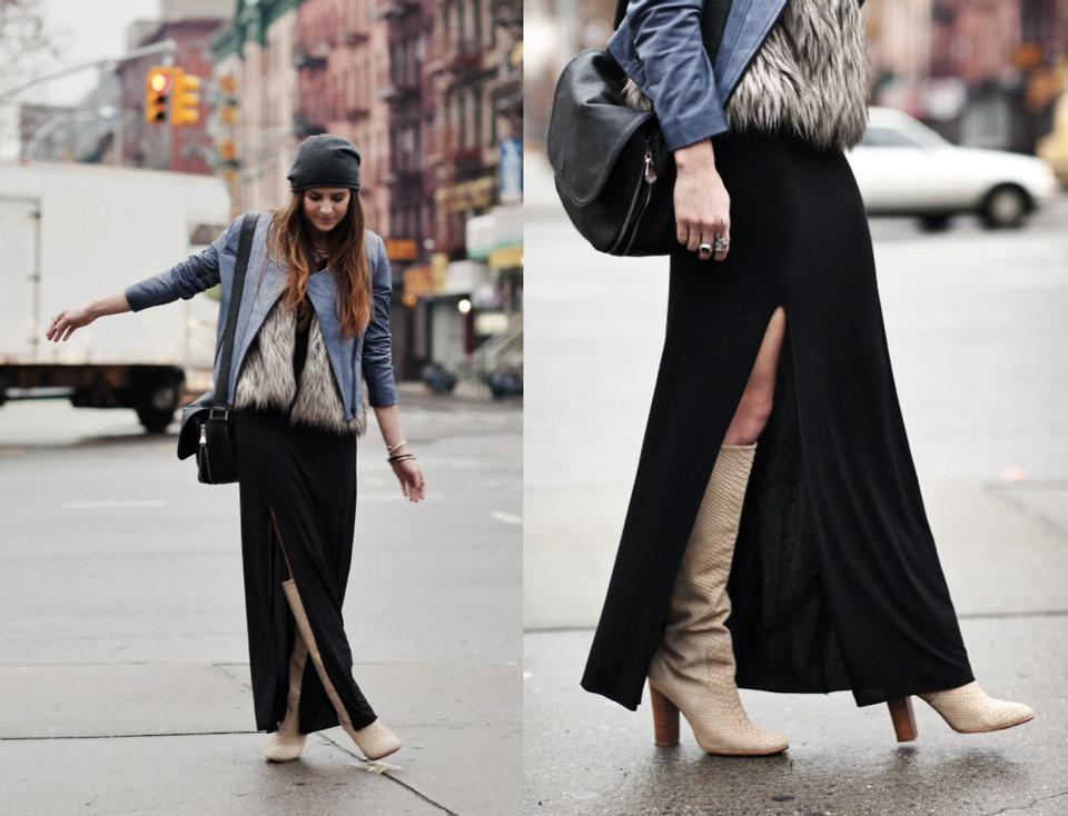 Laura Ellner Cut25 Leather Jacket, Reformation Maxi Dress