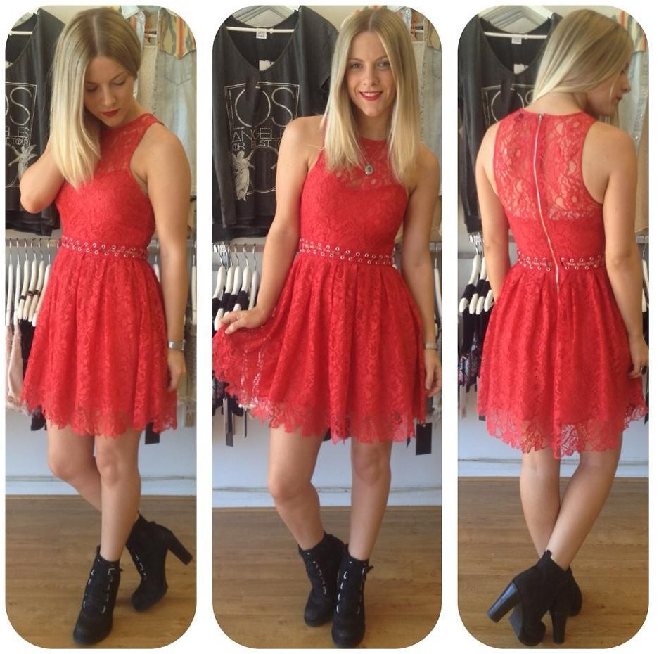 short red dress with boots