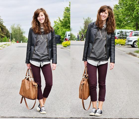 Martina V. Leather Jacket, Sivler Necklace, Sweatshirt