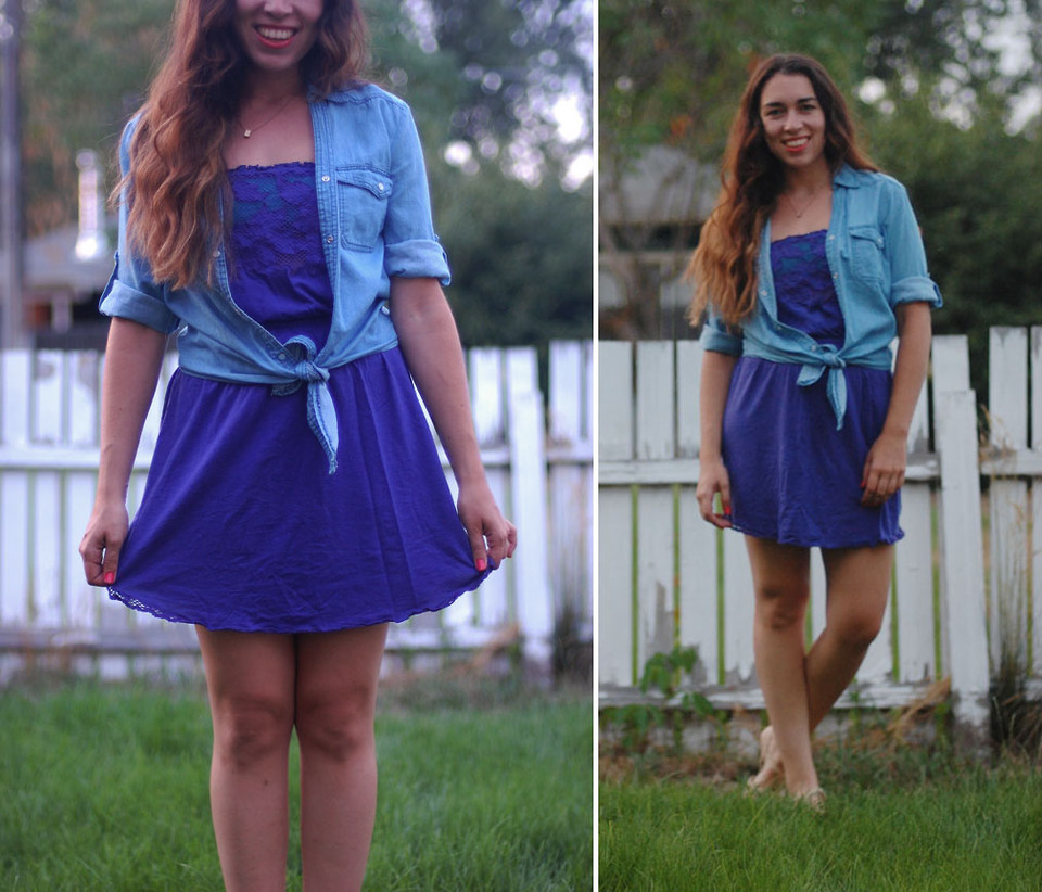 Amy R - Ross Chambray Tie Top, Forever 21 Purple Strapless