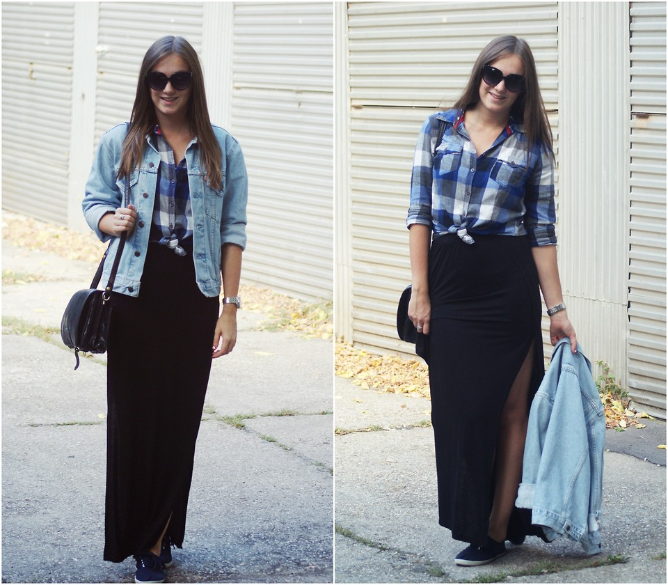 plaid shirt with long skirt