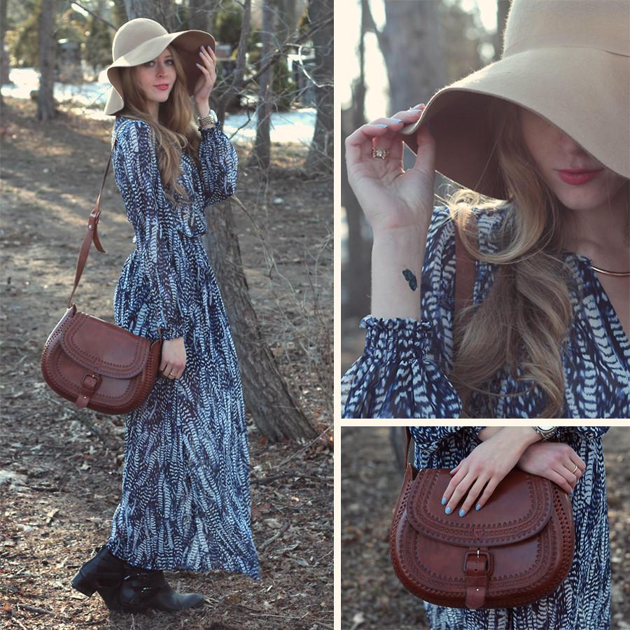 Natalie A H&M Maxi Dress, Mexican Market Leather Satchel