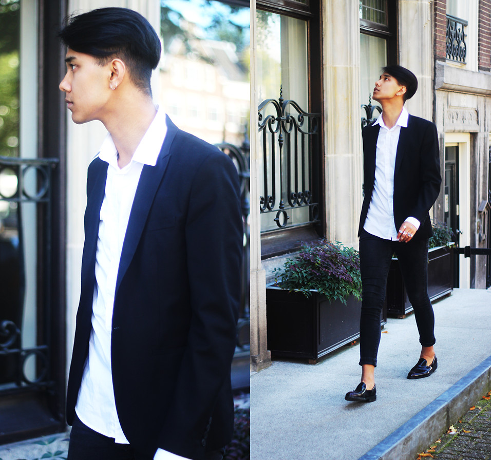 John Setrodipo Forever 21 Black Fit Blazer, H&M White