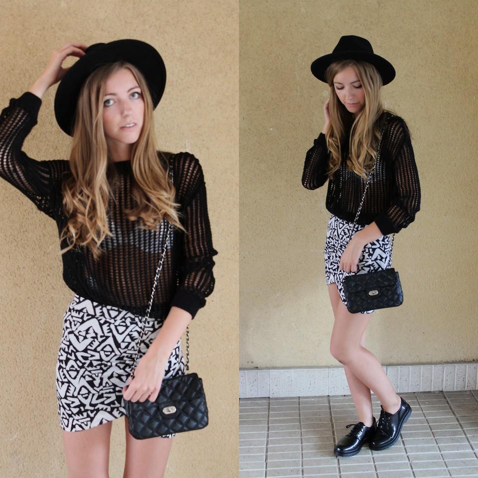 Hym Black Hat, Mango Jersey, Zara B\u0026W