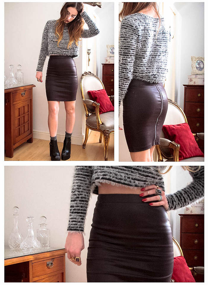 online for sale good detailed pictures FASHION HUSSY (ASHLIN) - All Saints Faux Leather Pencil Skirt ...