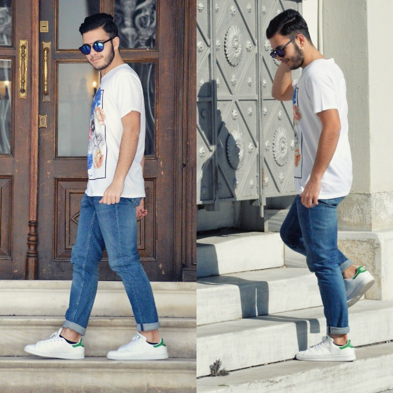 George Anagnostou H&M Jeans, Adidas Stan Smith Sneakers