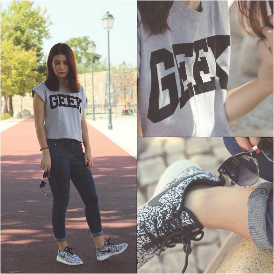 Adriana R. Romwe Geek T Shirt, Blue Jeans, Nike Roshe Run