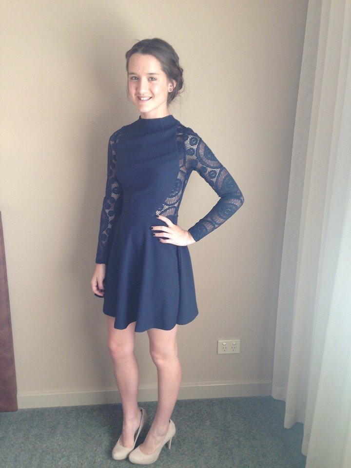 Uptown Girl Navy Long Sleeved Laced